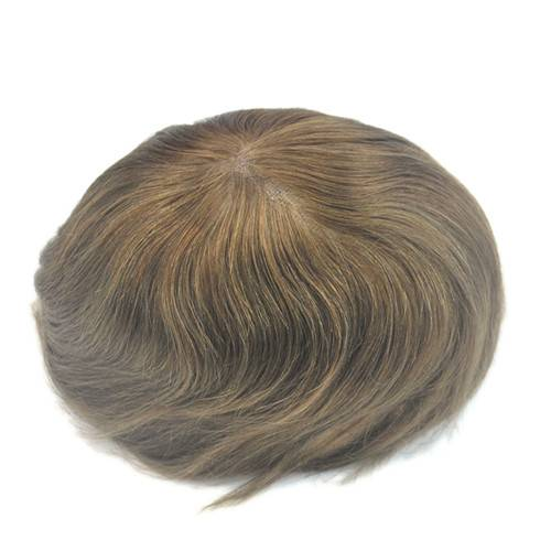 Mens toupee 100% real hair Swiss lace #5 Medium brown Hairpiece size adjustable