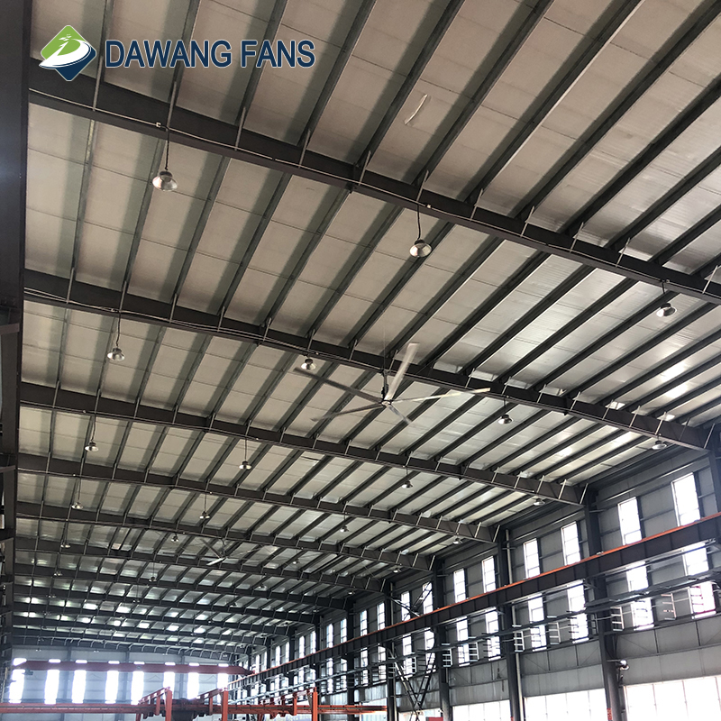 Dawang fans Big air ventilation hvls industrial ceiling fan with light