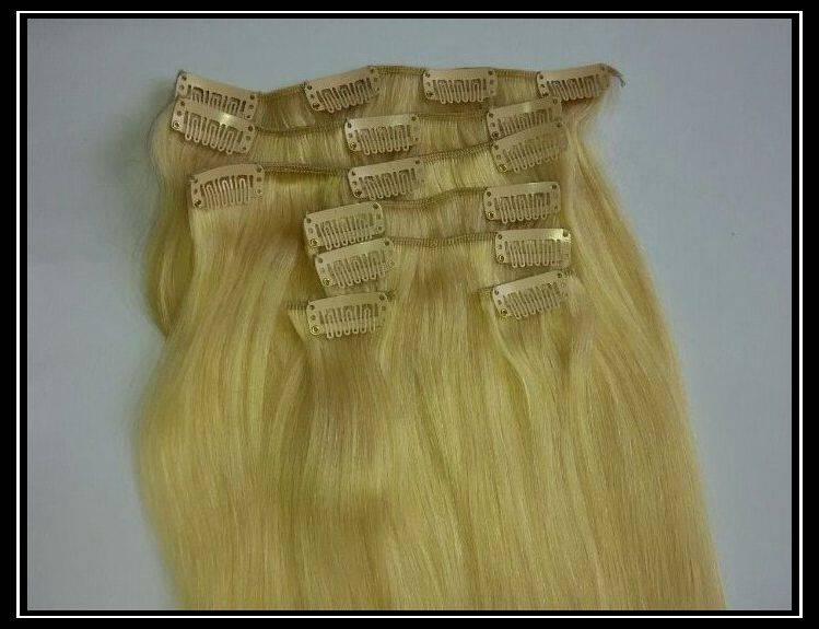 100% human hair Clips in Hair Extension