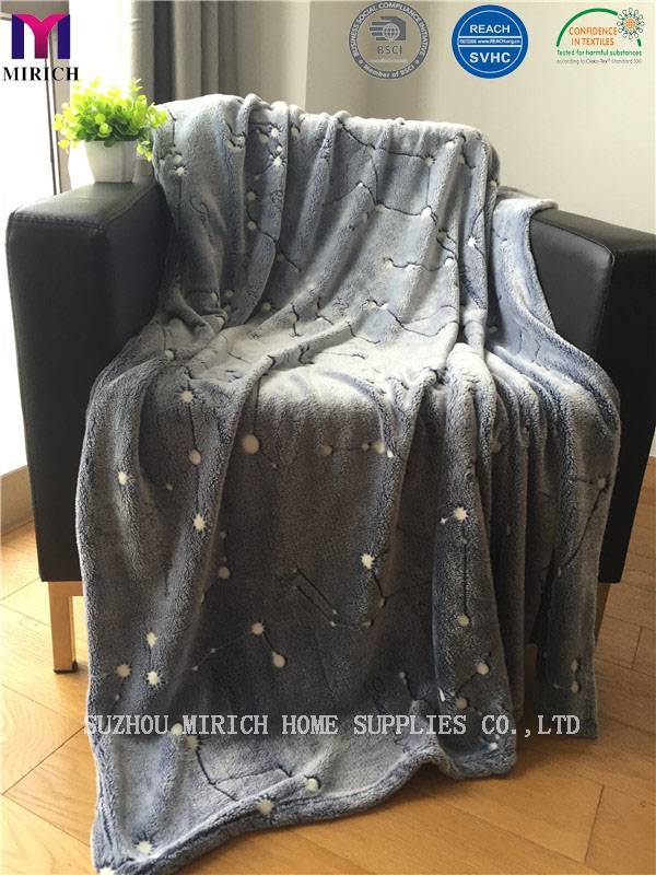 Luminous Star Pattern Soft Polyester Flannel Fleece Blanket