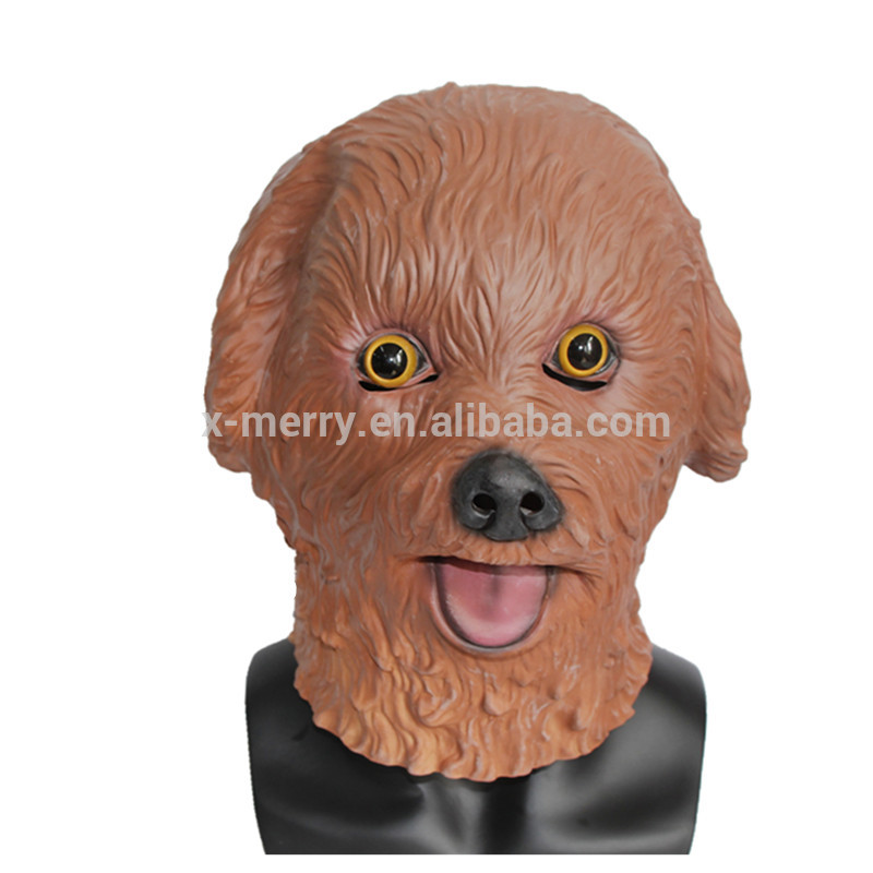 X-MERRY TOY Eco-Friendly Natural Dog Full Head Animal Latex Mask For Party Halloween Decorations x1