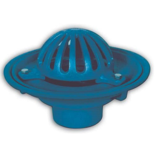 Ductile Iron full-flow 180 degrees vertical roof outlet - Eared with dome or flat grate
