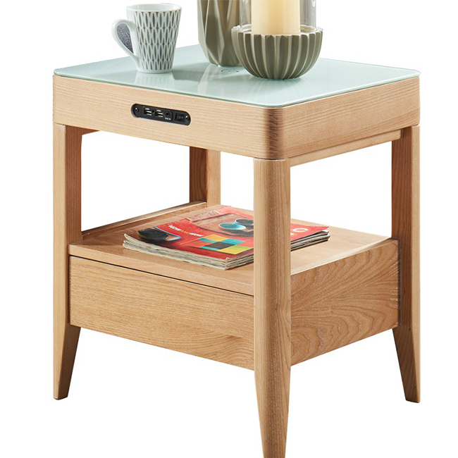 Modern Wooden Nightstand with Drawer Beside Table with speaker charger For Bed Room Furniture