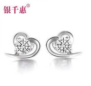 Silver Chieko 925 sterling silver stud earrings female Korean cute earrings Birthday Valentines Day