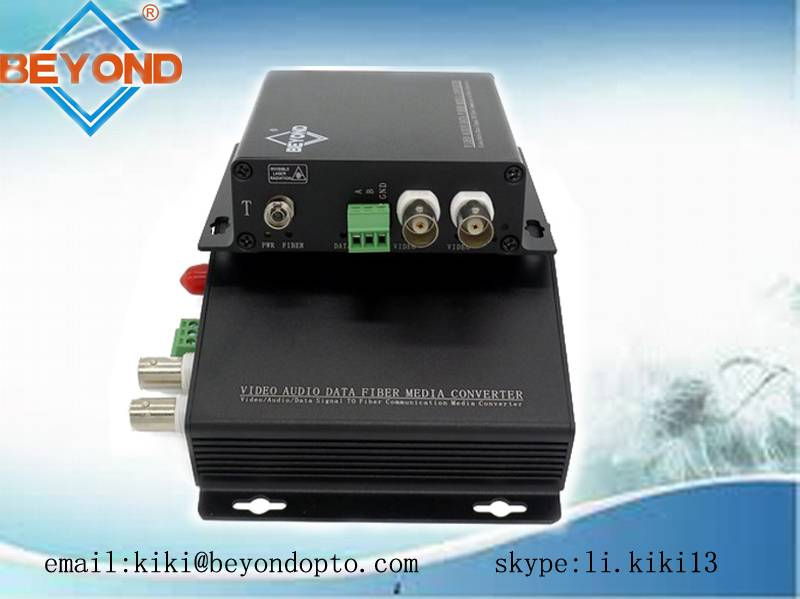2ch HDCVI digital video converter to fiber optic with audio for CCTV camera