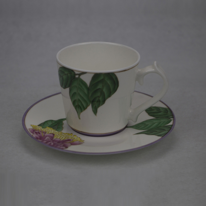 Pottery Hand Paint Floral Custom Porcelain Cup Ceramic Coffee Mug with Saucer