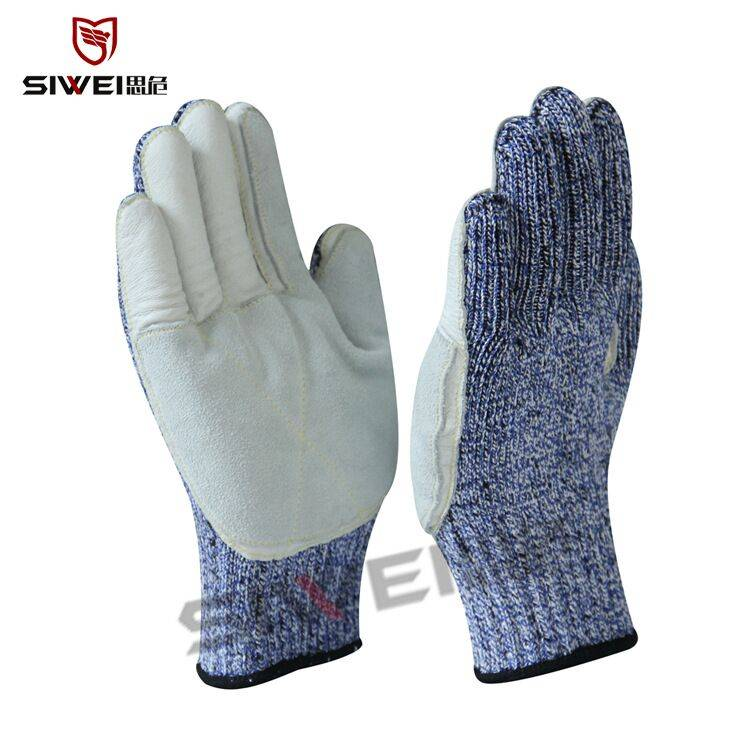 SeeWay B513 Cut resistant work gloves with leather palm coated