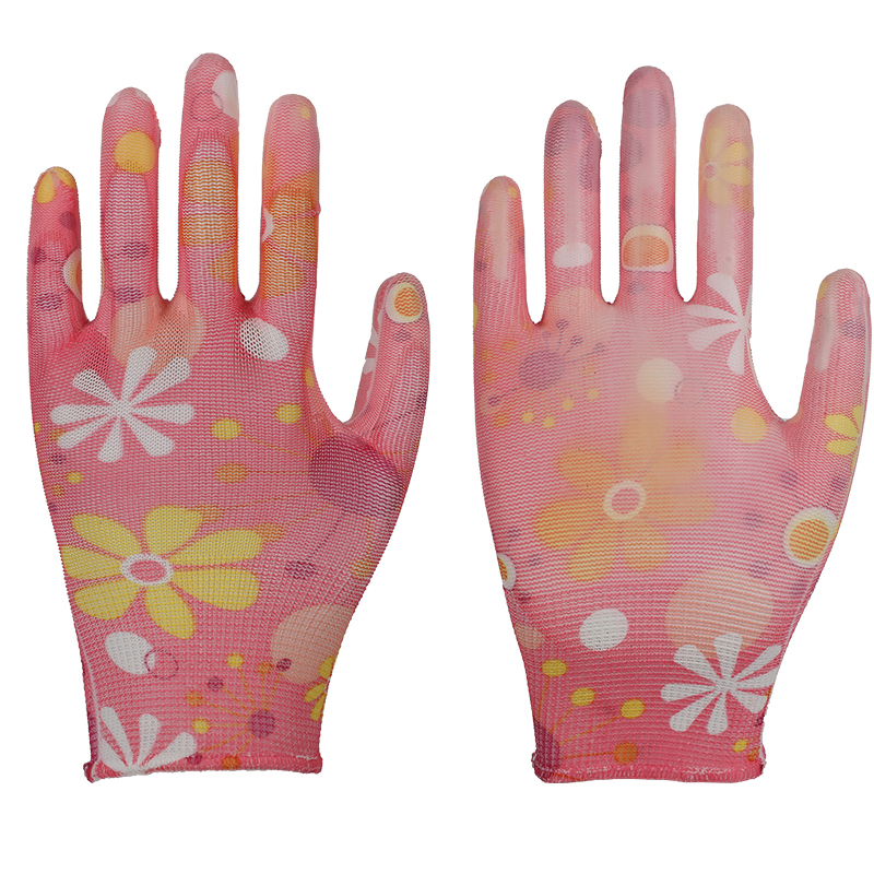 13G polyester garden nitrile coated gloves for women