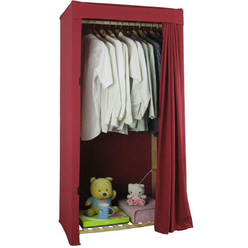 Single Heavy Duty Covered Clothes Wooden Frame Wardrobe