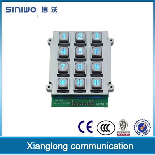 3x4 matrix led backlit zinc alloy metal keypad