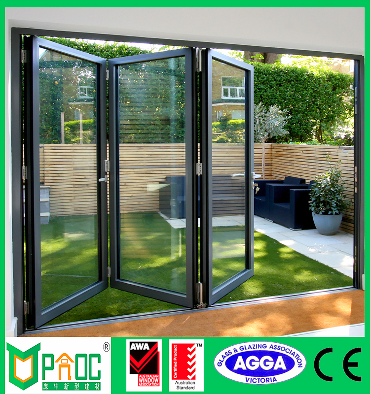 Aluminum sliding bi folding doors/ aluminum commercial doors