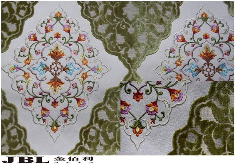 high-end  Jacquard,cut velvet,curtain fabrics with embroidery  NB130628A-2
