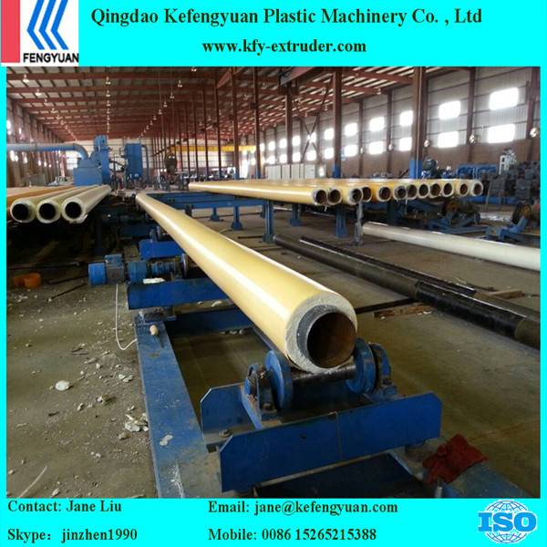 One step pre insulated PU jacket pipe foaming production line