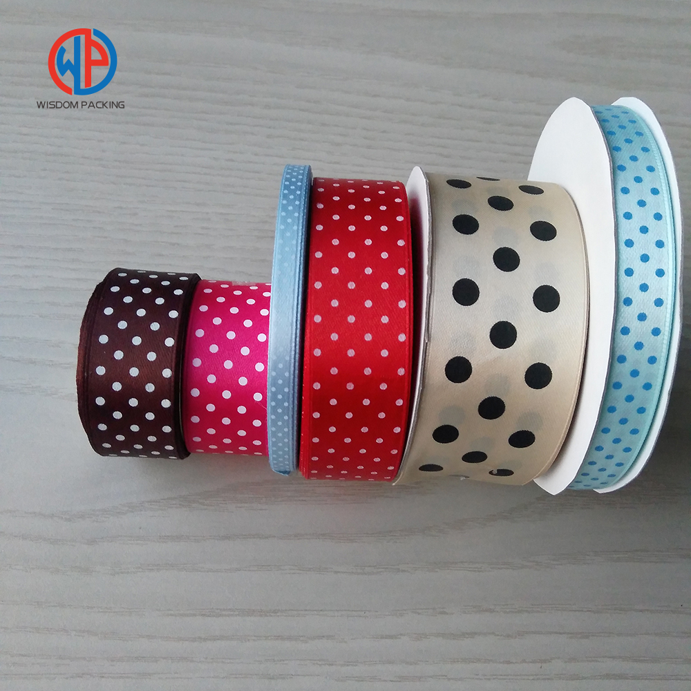 Polyester printed dots satin ribbon