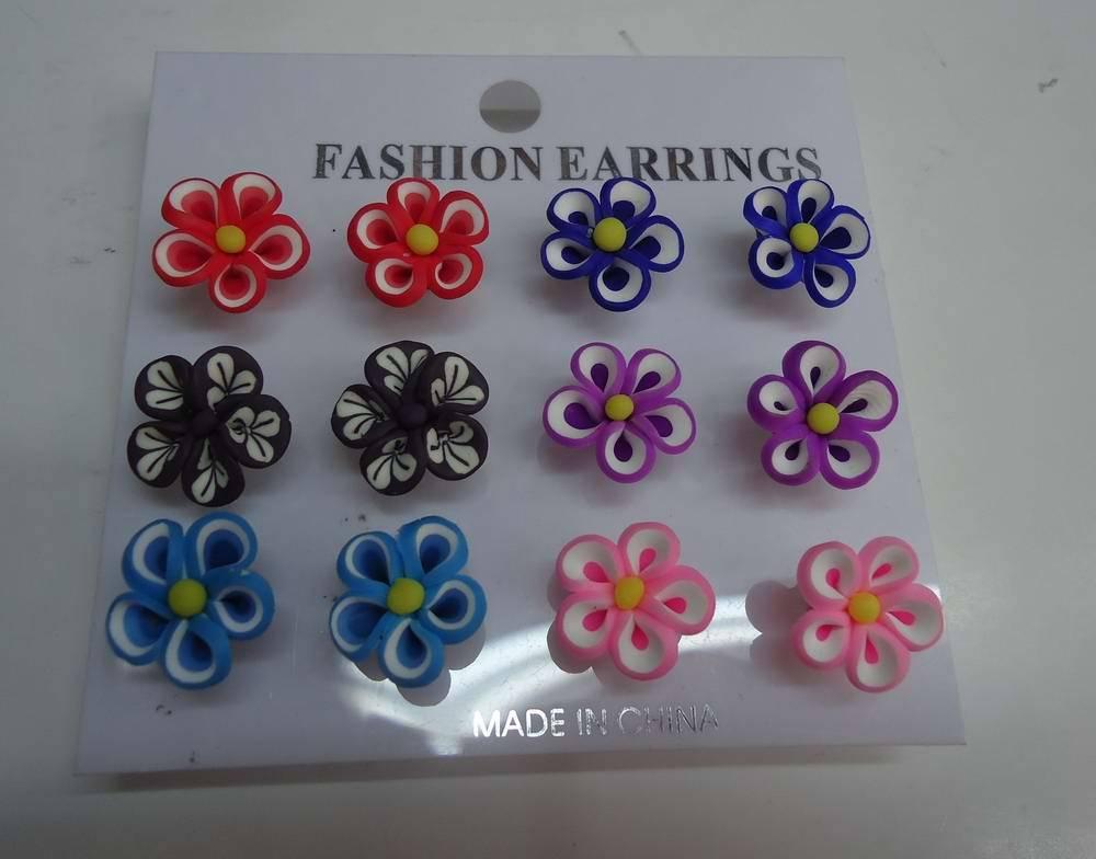 fashion hawaiian polymer clay flower fancy stud earring