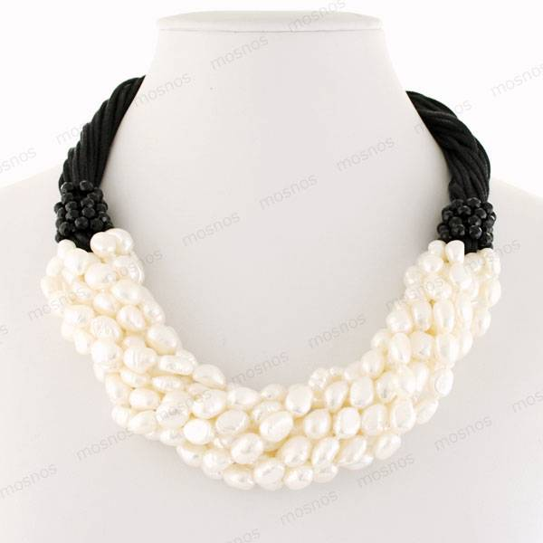 Freshwater pearl necklace, genuine pearl jewelry, costume jewelry