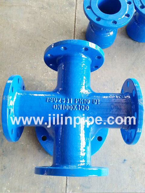 All-flanged Cross ductile iron pipe fittings ISO2531 BSEN545 BSEN598