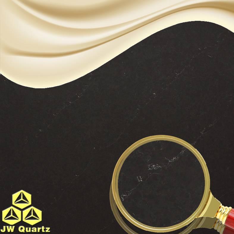 JW-5205 Gold Sand-Black background color with gold sand spread Quartz Stone