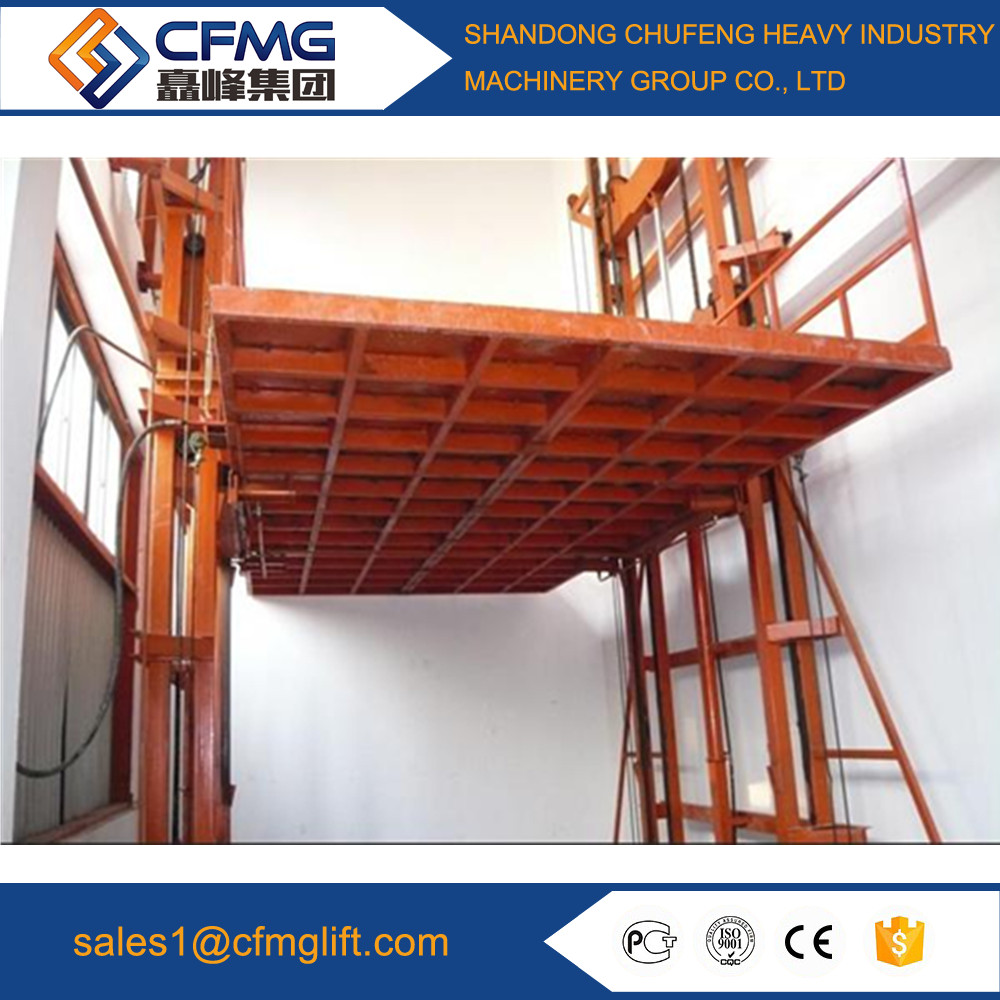 warehouse electric guide rail hydraulic cargo platform lift/Outdoor lift elevators for warehouse