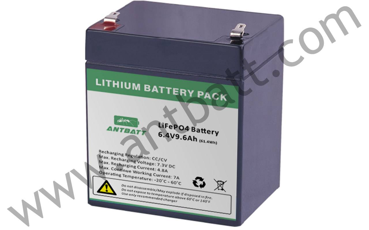 LiFePo4 6.4V 9.6Ah Solar Litght battery pack