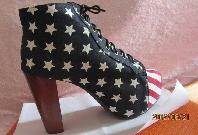 Free Ship USA Flag Ankle Boot Chunky Heel Sold On www.merryshoes.com