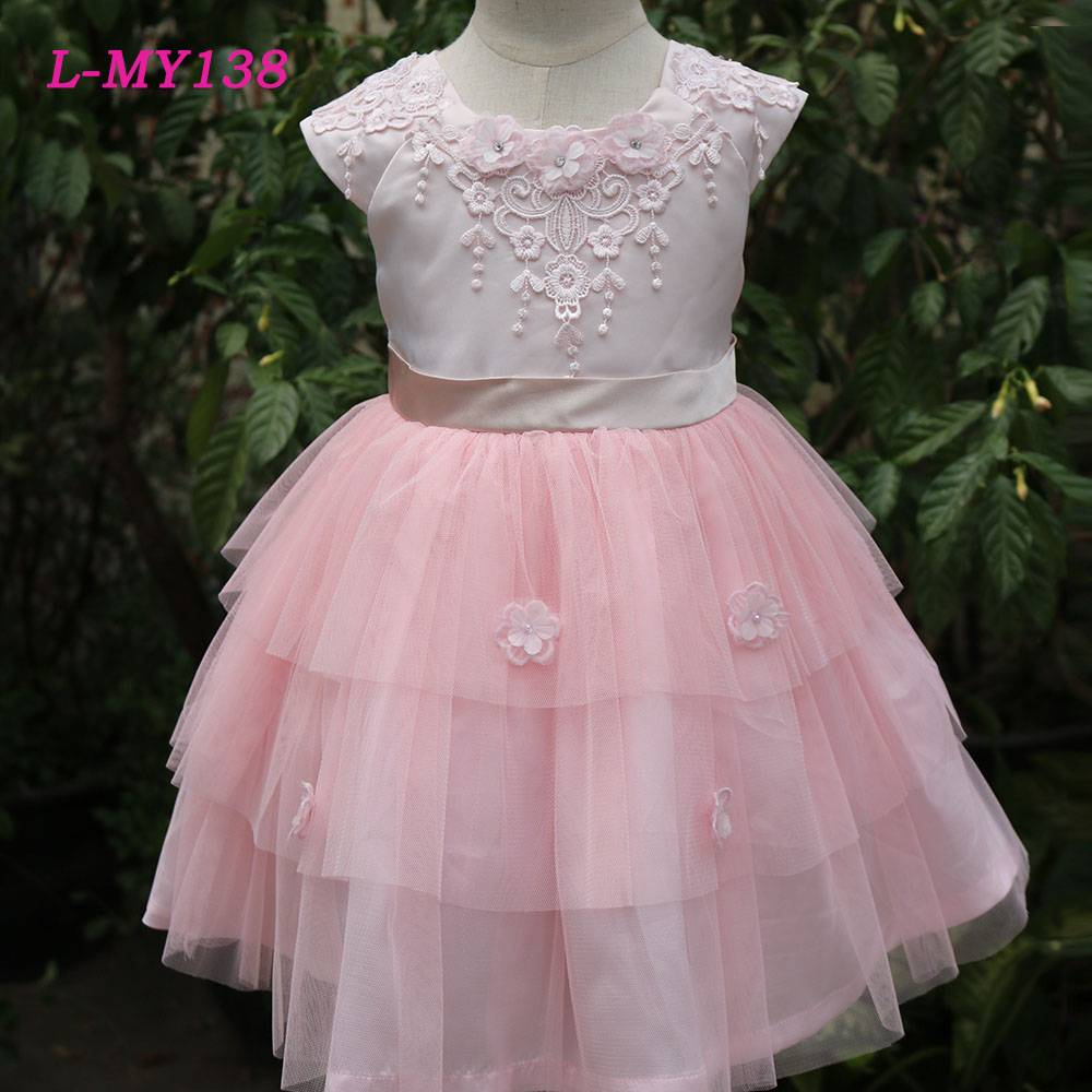 Elegant pink long dress chiffon new style alibaba wedding dress flower girls dress