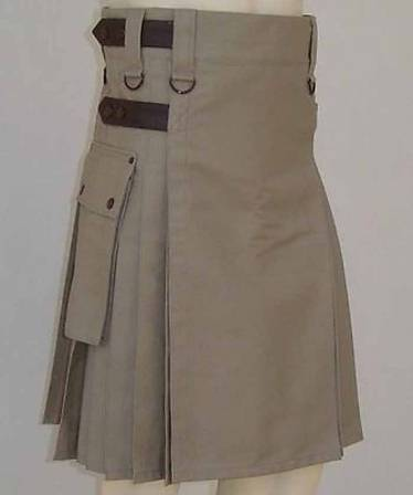 ACTIVE MEN LEATHER STRAPS KHAKI KILT MADE TO MEASURE