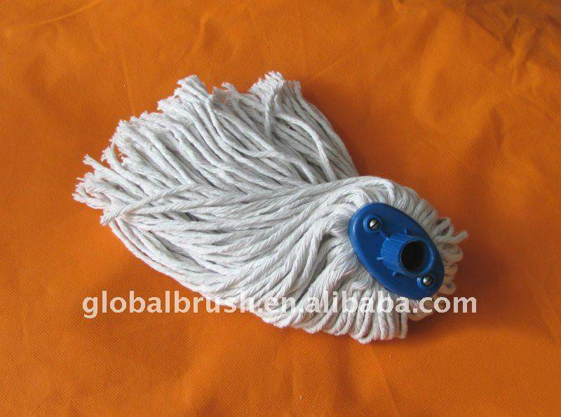 HQ502 flat polyester mop/floor cotton mop with iron screw handle