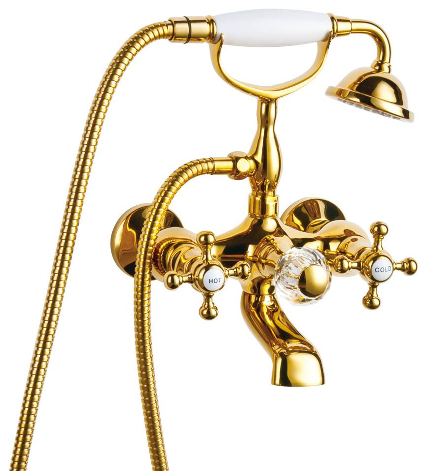 New Luxury Gold Color Bathroom Clawfoot Bathtub Faucet Handheld Shower Head Faucet Set Mixer Tap Cer