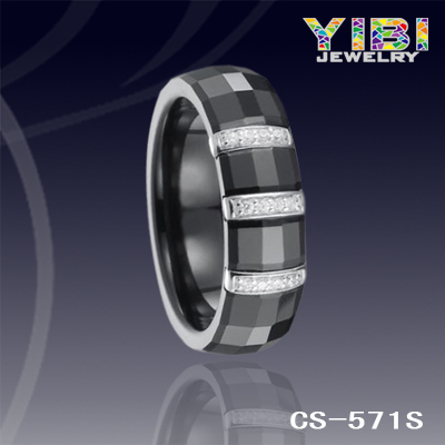 New Design Fashion Jewelry CZ Inlaid Silver Inlay Black Ceramic Ring