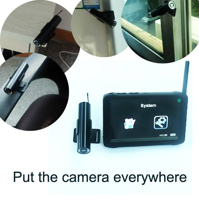 2.4G wireless camera monitor with sticky rotated holder