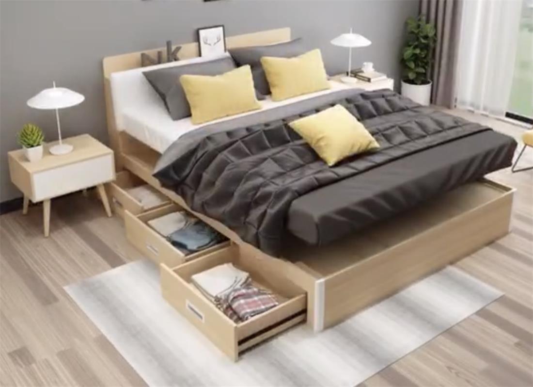 Modern bedroom furniture wood bed