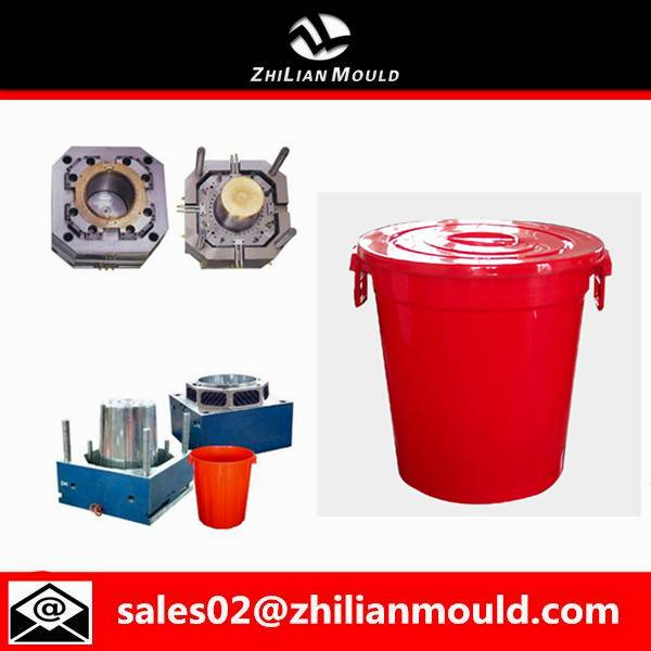 Taizhou custom plastic injection pail mould with handle and cover