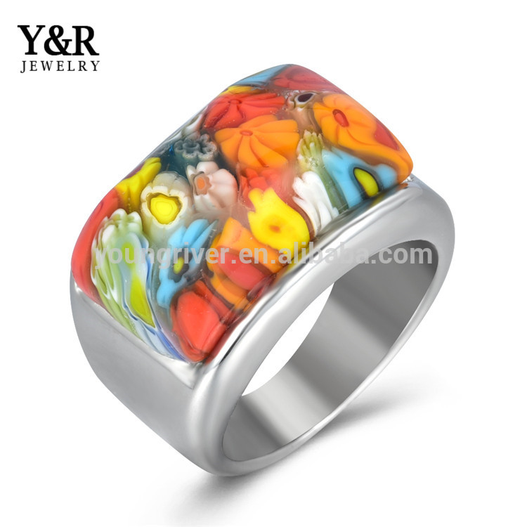 Stainless Steel Handmade Millefiori Affordable Jewelry Finger Ring