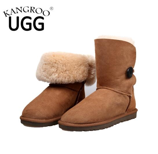 Fashion Women Winter Sheepskin Boot with One Button