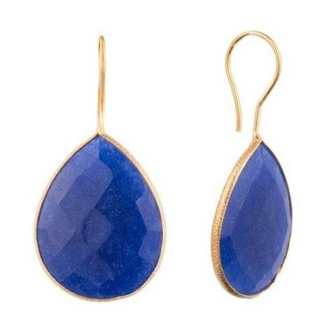 925 sterling silver Dyed Sapphire Gemstone Earring-Vermeil Gold
