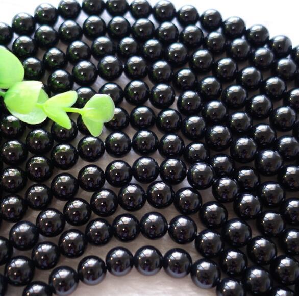 Natural Black agate Gemstone Round Bead Loose Spacer Beads