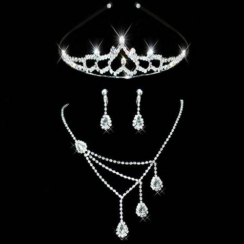 3 Pieces Alloy With Austrian Crystal Wedding Bridal Jewelry Sets
