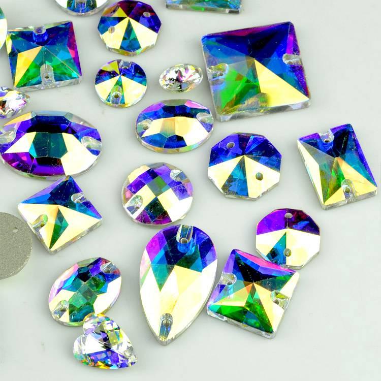 New AB crystal blue flare triangle sew on flat back stones, fancy flat back glass stones, rhinestone