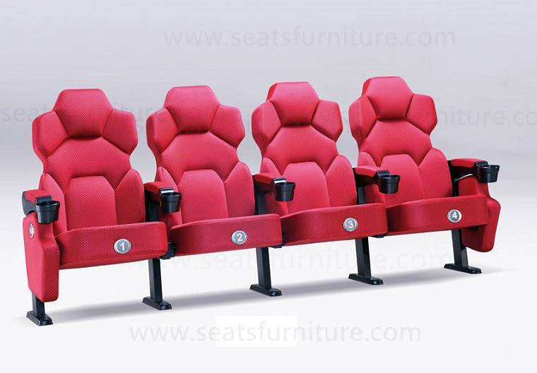 Fabric cinema seats with high density and cup holder in the arm LS-617