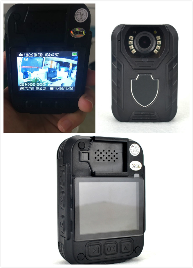 Wearable HD 1296p Wide Angle 145-degree 36 Megapixel Police Worn IR Body Camera with Night Vision