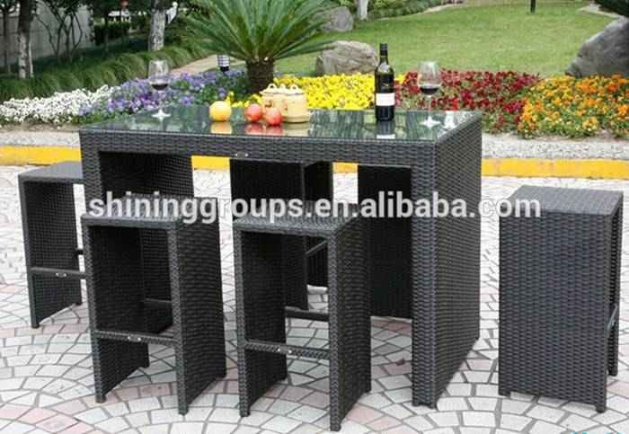 Cheap fashion outdoor rattan bar set/outdoor rattan furniture for sale SH-6A