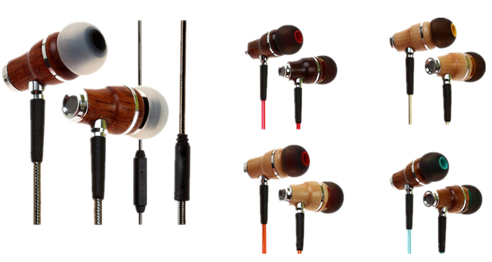 2016 Newest mold OEM Wood earphone with microphone