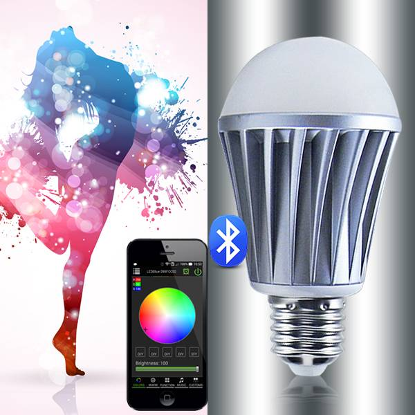 bluetooth rechargeable led bulb e27 with multi color led remote control