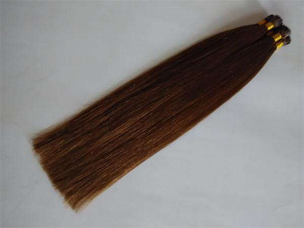 Human hair Straight brown I stick hair U tip hair Plat hair Nano hair