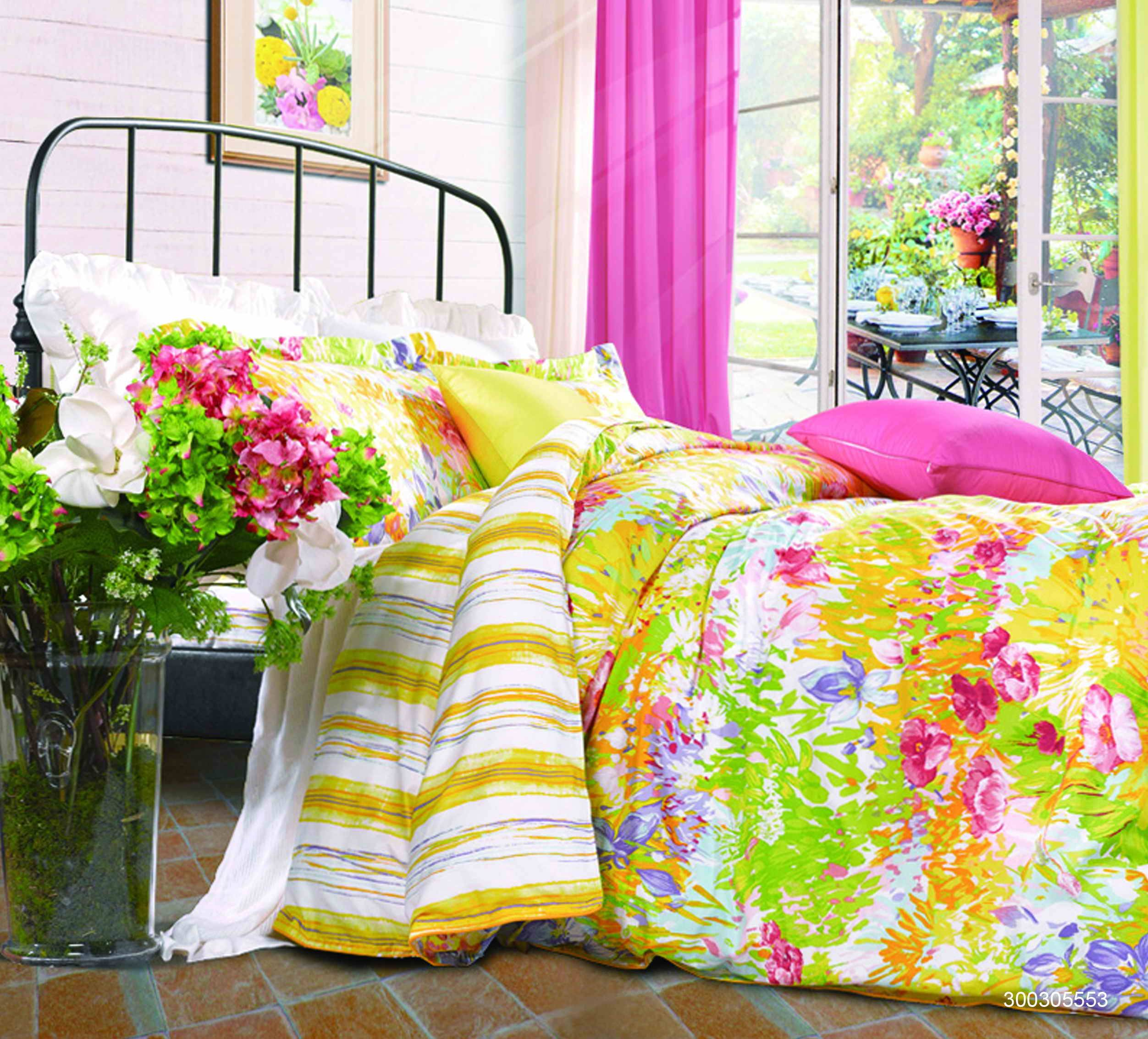 Fuanna Morning Flowers 3 Pieces Set Cotton Printed King Duvet Cover and Pillow Shams