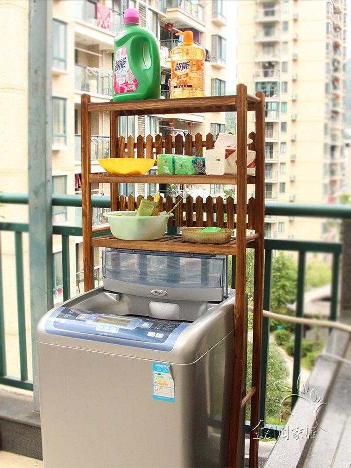 Multi-layer durable wooden storage shelf washing room storage rack FS012
