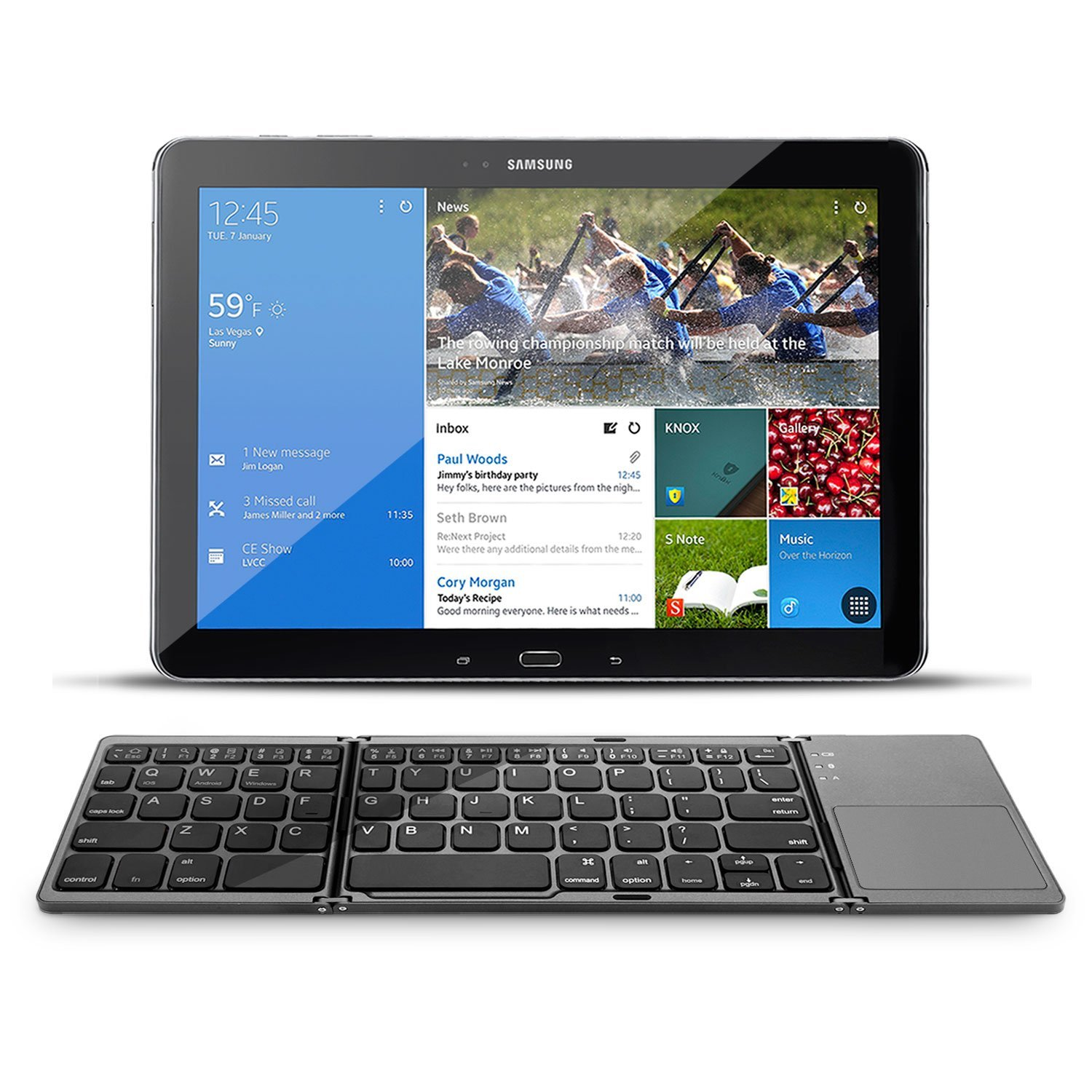 Folding Bluetooth Keyboard Rechargeable Portable BT Wireless Foldable Mini Keyboard with Touchpad