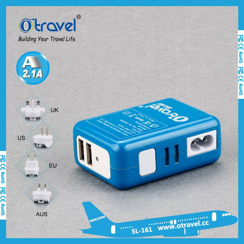 Otravel dual usb output 5V 2.1A universal travel plug adapter