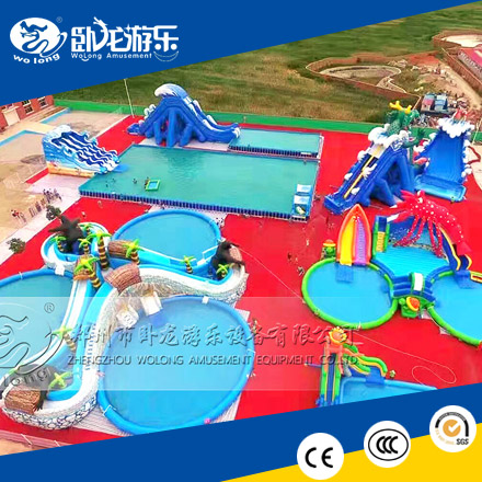 0.85mm PVC giant inflatable water park with repair kits